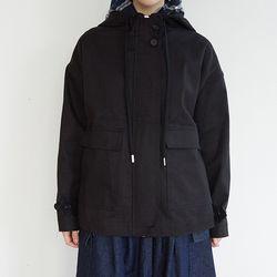 simple hood cotton jumper (black)