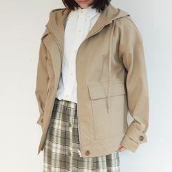 simple hood cotton jumper (beige)