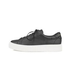 REAL LEATHER LOW TOP BLACK