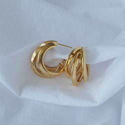 3라인 파이프 링귀걸이 3line pipe ring earring