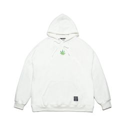 LEAF OVERSIZED HEAVY SWEAT HOODIE WHITE