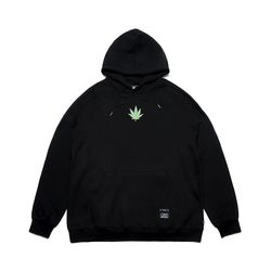 LEAF OVERSIZED HEAVY SWEAT HOODIE BLACK