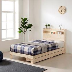 삼나무 LED 서랍 침대 프레임 SS (서랍2개)