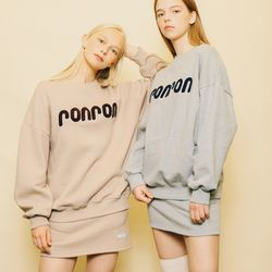 [SET] BOUCLE LOGO POINT SWEATSHIRTS+PASTEL BANDING SKIRT