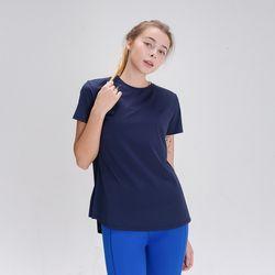 DURAN 스플래쉬 사이드 슬릿 티셔츠 DFW5024 네이비