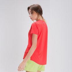 DURAN 스플래쉬 사이드 슬릿 티셔츠 DFW5024 레드코랄