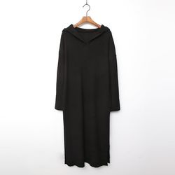 Wool Hood Long Knit Dress
