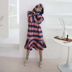 Stripe Hoodie Flare Dress