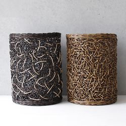 미얀마 라탄 다용도 원통 (대)-2color