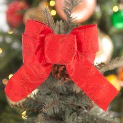 레드잎 리본 (37cm) 2단 크리스마스 장식 TRMBLS