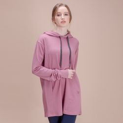 DURAN 이지 롱 후드 티셔츠 DFW-TL5028 핑크