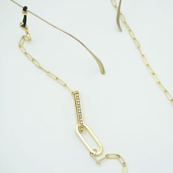 Shiny twin square glasses chain