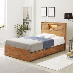 프레시 고무나무원목 LED 3서랍 침대 SS