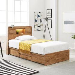 프레시 고무나무원목 LED 4서랍 침대 SS