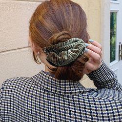 벨벳 주름 스크런치 곱창 머리끈