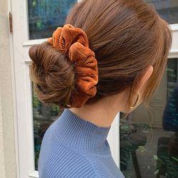 단색 골덴 스크런치 곱창 머리끈