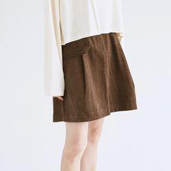 pocket detail corduroy skirts (brown)