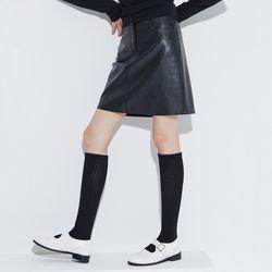 [skirt] 심플 레더 미니 스커트