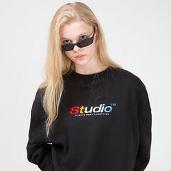 컬러풀 자수 맨투맨 티셔츠 - BLACK