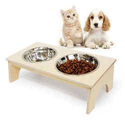 자작나무 애견식탁(아치) 원목 2구 강아지 고양이 밥그릇