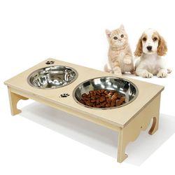 자작나무 애견식탁(왕관) 원목 2구 강아지 고양이 밥그릇