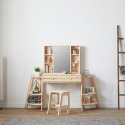 레일라 원목 수납 거울 화장대 B형 + 화장대 의자