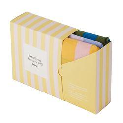 [바쿠백] 휴대용 장바구니 접이식 시장가방 3개 세트 Stripe