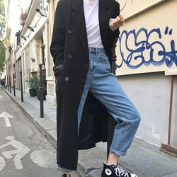 slit double breasted coat