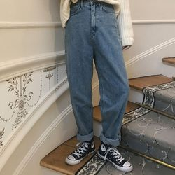 louvre simple denim pants (s m)