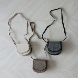 헤링본 원형 미니 숄더백 (3color)