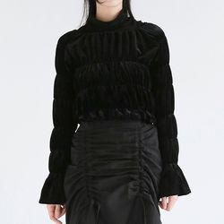 girlish velvet frill blouse (black)