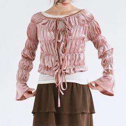 girlish velvet frill blouse (pink)