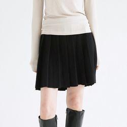 pleats school mini skirts (black)