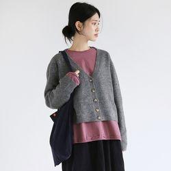 deep neckline wool cardigan (3colors)