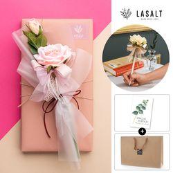 로즈플라워펜 PEPERO 4종기프트세트(핑크로즈)쇼핑백+카드