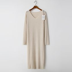 Laine Wool N Cashmere Golgi V-Neck Long Dress