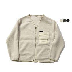 파이핑 플리스 노칼라 재킷  (3color)