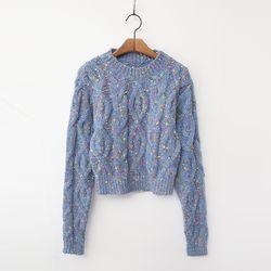 Wool Bokashi Crop Sweater
