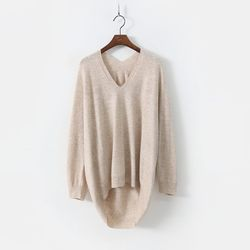 Laine Cashmere N Wool V-Neck Unbal Sweater