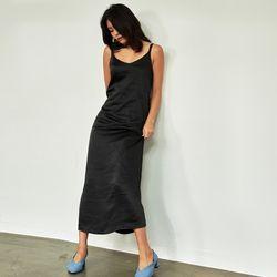 새틴 실키 슬립 롱 드레스 블랙