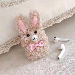 귀여운 리본 토끼 캐릭터 니트 뜨개 털 에어팟 케이스
