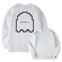레트로 포인트 프린팅 오버핏 기모 맨투맨 티셔츠 GMT-193