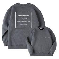심플 레터링 포인트 오버핏 기모 맨투맨 티셔츠 GMT-194