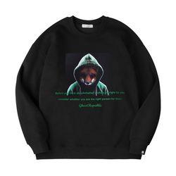 라쿤 프린팅 오버핏 기모 맨투맨 티셔츠 GMT-1102