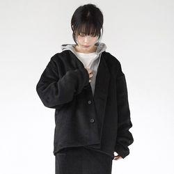 mohair texture loose cardigan (black)