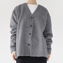 mohair texture loose cardigan (gray)