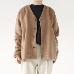 mohair texture loose cardigan (beige)