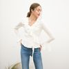 BELL SLEEVES RUFFLE WRAP BLOUSE(OFF WHITE)