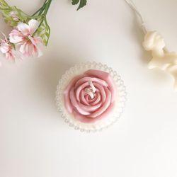 크리스탈 꽃 캔들 (연보라)