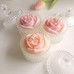 크리스탈 꽃 캔들 (살구)